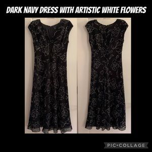 Chaps dress, very dark blue with white flowers, 8